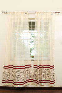 Handloom Cotton-Silk Curtain with 2 CUSHION COVERS