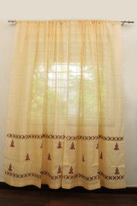 Handloom Cotton-Silk Curtain set with 2 Cushion covers