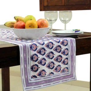 Hand Block Printed Cotton Table Runner With Ikat Border
