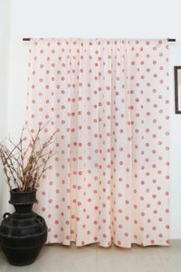 Hand block printed Cotton Curtain set with 2 Cushion covers