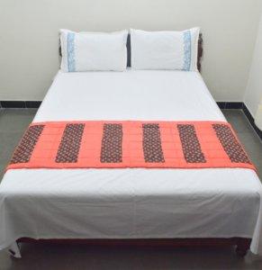 Handloom Hand Block Printed Tussar Cotton-Silk Bedrunner