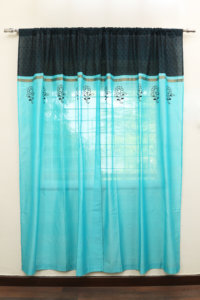 Handloom Cotton-Silk Curtain set with 2 Cushion covers